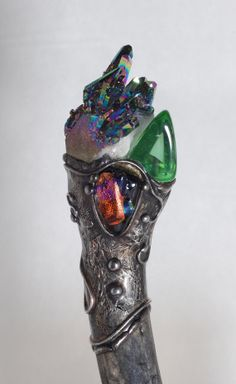 beautiful page! Titanium Crystal Quartz Green Obsidian Deer antler by Queenie88, $179.00