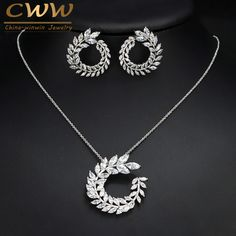 Fashion Women Costume Jewelry Sparkly Olive Branch Marquise Cut Cubic Zirconia Pendant Necklace And Earrings Sets T087
