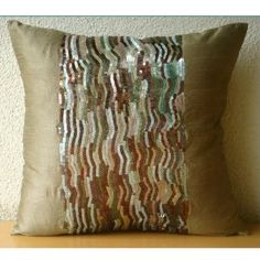 Earthy Delight - Decorative Pillow Covers - Silk Pillow Cover Embellished with Sequins :     Price: $29.90    .        Earthy Delight - Decorative Throw Pillow Cover. This Pillow Cover is made using a dull gold brown Art Silk Dupioni Fabric intricately embellished with sequins in different earthy shades to create a beautiful ambiance in your home. The back of the pillow is the same dull go...Check Price >> http://gethotprice.com/appin/?t=B0088ISLSE
