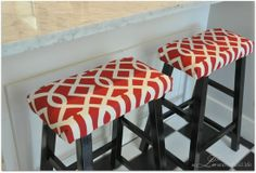 Target stools transformed with foam and fabric. So simple! LOVE THIS!!! Would use different fabric but I have those stools!