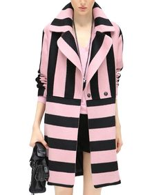 COCOBELLA Pink & black wool blend stripe coat, Designer Jackets Sale, The Colour Of Love at SECRETSALES.com