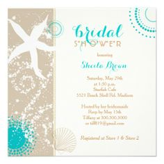 Modern Beach Bridal Shower Invitations