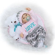 """88.33$  Buy here - http://ali46e.shopchina.info/go.php?t=32796594893 - """"22"""""""" Realistic doll reborn for baby children toys handmade silicone reborn babies with bear plush doll dummy pacifier bebe boneca""""  #aliexpressideas"""