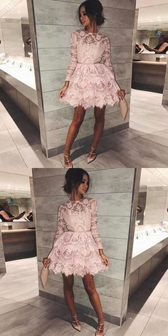 homecoming dresses short Pink short homecoming dresses, long sleeves lace short prom dresses, lace tiered short homecoming dress with sleeves Long Sleeve Homecoming Dresses, Dresses Short, Hoco Dresses, Dresses For Teens, Trendy Dresses, Dance Dresses, Cute Dresses, Beautiful Dresses, Fashion Dresses