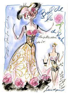 Croquis de Karl Lagerfeld pour le Bal de la Rose signé Chanel http://www.vogue.fr/mode/inspirations/diaporama/traits-de-genies-croquis-de-createurs-mode/12687/image/744325#!croquis-de-karl-lagerfeld-pour-le-bal-de-la-rose-signe-chanel