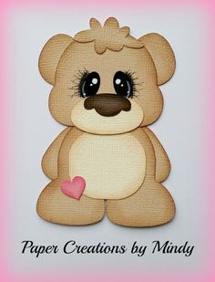 Craftecafe Mindy Baby Bear boy girl  premade paper piecing for scrapbook page