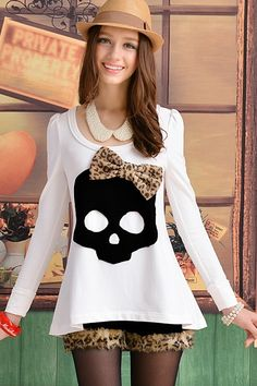 This T-shirt has been crafted in cotton, spandex, polyester and nylon, featuring a round neck with skull applique and bowknot embellished, puff sleeve detail, in medium length cut, in loose fit.$64