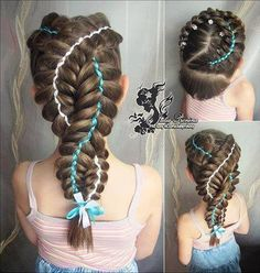 2 French braids with ribbons