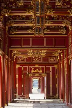 Halls of the Mandarins, Red-Painted Interior by Walter Bibikow : Imperial City, Vietnam, Fine Art Prints, Canvas Prints, Airstream Interior, Ceiling Design, Roof Design, Wall Design, Palace Interior