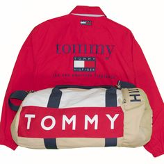 57ec6c69e1 Vintage 1990 s Tommy Hilfiger Men s Jacket   Duffle Bag Lot X-Large Red  Full Zip