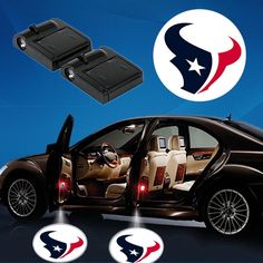 2 NFL HOUSTON TEXANS WIRELESS LED CAR DOOR PROJECTORS