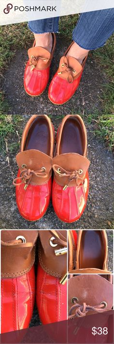 Tory Burch Matthew duck shoe Ok..these have been used... Creasing at bend, marks on leather from tassels and tarnish on gold tip. They ARE utility shoes after all .. They are ready to go! soles are not worn ( inside or out) still great shoe. Fire engine red.. Size 8 but fit like 8.5 ( I think for thicker socks) NO OFFERSLOWEST LISTEDBUY IT NOW OPTION ONLY I ONLY TRADE FOR CASH  Tory Burch Shoes