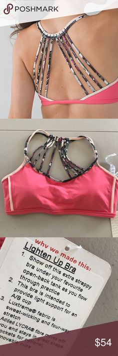 NWT LULULEMON LIGHTEN UP BRA PINK -- Size 8 Brand: Lululemon Athletica Lighten Up Bra Pink Lemonade || Butterfly  Condition: New with tag || Size 8 || Pads Included    🚩NO TRADES  🚩NO LOWBALL OFFERS  🚩NO RUDE COMMENTS  🚩NO MODELING  ☀️Please don't discuss prices in the comment box. Make a reasonable offer and I'll either counter, accept or decline.   I will try to respond to all inquiries in a timely manner. Please check out the rest of my closet, I have various brands. Some new with…