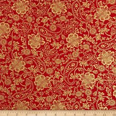 Kanvas Deck the Halls Metallic Tapestry Floral Red from @fabricdotcom  Designed by Greta Lynn for Kanvas in association with Benartex, this cotton print fabric is perfect for quilting, apparel and home decor accents. Colors include red and features gold metallic accents throughout.