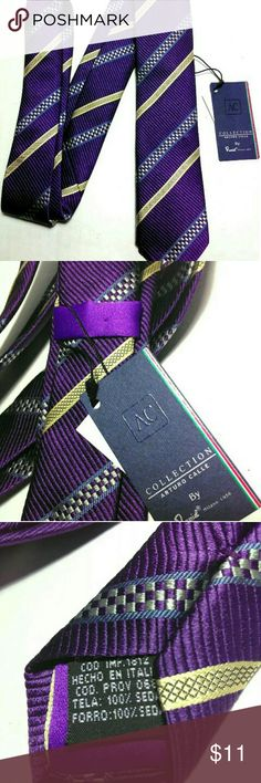 Arturo Calle Italian Silk Purple Striped Necktie Beautiful Necktie By the Designer's at Arturo Calle Italy is this all silk handmade purple skinny tie with gold stripes.  NEW WITH TAG'S Arturo Calle Accessories Ties