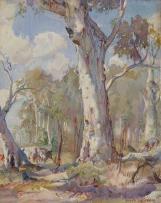 by Hans Heysen an Australian artist of renown who painted beautiful rural scenes. Australian Painting, Australian Artists, Landscape Art, Landscape Paintings, Pierre Auguste Renoir, Imagen Natural, Art Terms, Aboriginal Art, Tree Art