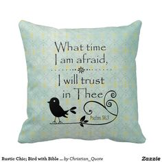 Rustic Chic; Bird with Bible Verse Pillows #bibleverse #faith #pillows