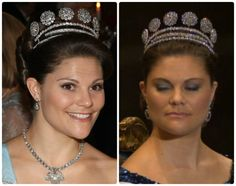 Crown Princess Victoria wears the Six-Button tiara with and without a rivière.