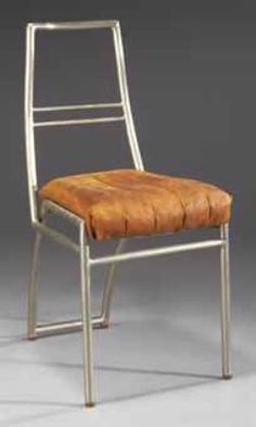 Nickel-Plated Tubular Steel and Leather Side Chair, Eileen Gray Eileen Gray, Funky Furniture, Vintage Furniture, Furniture Design, Movement In Architecture, Chaise Chair, Paris Home, 1920s House, Love Chair