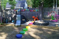 Amazing backyard play area - love the colored tree stump pavers.