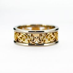 Wide two tone filigree wedding band yellow by TorkkeliJewellery