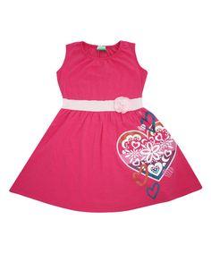 Nohi Kids Pink Heart Organic Banded Tank Dress - Infant, Toddler & Girls | zulily