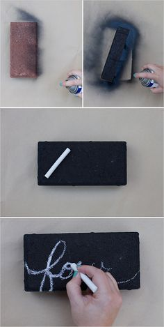 step by step chalkboard brick #diy #tablenumbers #weddingchicks http://www.weddingchicks.com/2014/04/03/diy-table-numbers/