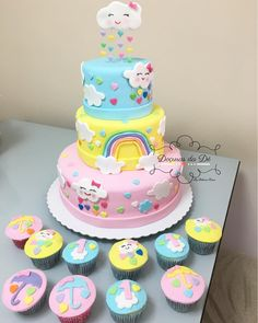 Baby Birthday Cakes, Baby Girl 1st Birthday, Rainbow Birthday, Baby Girl Shower Themes, Baby Shower Cakes, Cloud Party, Cloud Cake, Cake Topper Tutorial, Rainbow Parties