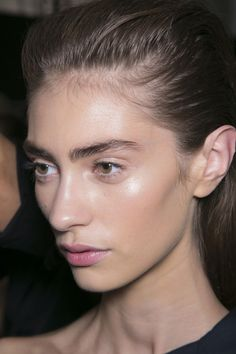 marine deleeuw Backstage pfw ss 14. Brows and skin are amazing. Bye bye matte skin and sculpted brows....BYE!