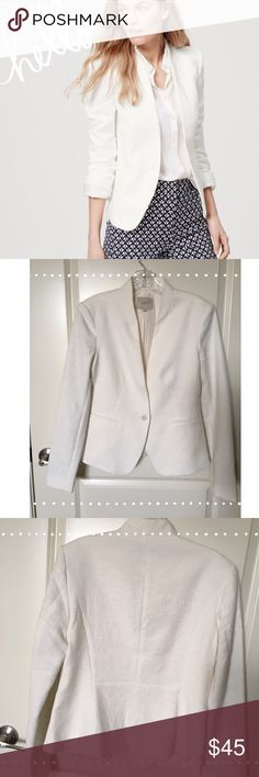 Ann Taylor Loft Collarless Blazer NWOT, never been worn whisper white textured collarless single breasted blazer.  The exterior had a textured finish (cotton poly blend) with a whisper white interior shell, inside the arms is a thin double stripped pattern that can easily be seen by rolling the sleeves up. There are two hidden buttons on each cuff, the fit is nipped at waist to show the figure more. LOFT Jackets & Coats Blazers
