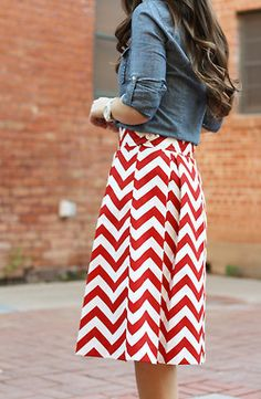 blissfull—thinking:BOLD  love the red and white graphic skirt with denim shirt