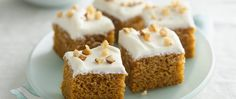 A perfect dessert for fall potlucks, delicious pumpkin bars are made even better with cream cheese frosting.