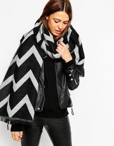ASOS Oversized Scarf In Woven Chevron Pattern