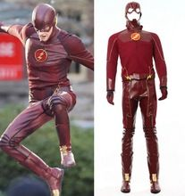 Free UPS Shipping New Arrival The Flash Cosplay Costume With Boots Men's Costume(China (Mainland))
