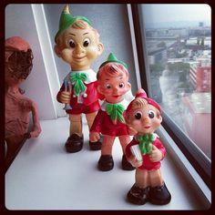 Ledraplastic. Pinocchio. 1962, 1970, 1970. Now I need the 45cm 1970 one., via Flickr.