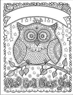 OWL may God Bless you art to color and hang makes a great gift add a name customize instant Download