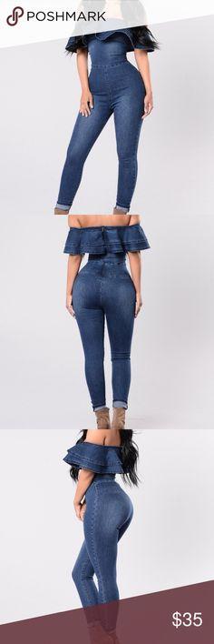 Denim jumpsuit NEW! Tags attached. Fashionnova Fashion Nova Pants Jumpsuits & Rompers