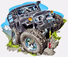 Best classic cars and more! Toyota Cruiser, Fj Cruiser, Toyota 4x4, Cool Car Drawings, E Motor, Funny Car Memes, Truck Art, Desenho Tattoo, Automotive Art