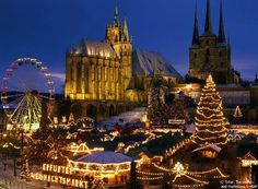 Erfurt: Christmas market, cathedral Germany