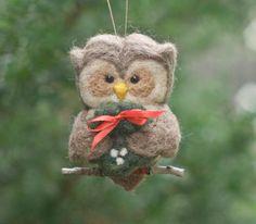 Needle Felted Owl Ornament  Holding Wreath