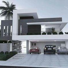 Casa contemporânea com fachada branca e cinza.