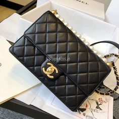 Chanel Flap Bag with Pearl AS0585 Black