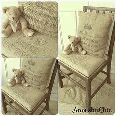 Vintage 50s Chair with French Grain Sack Rustic Oak shabby chic + cushion