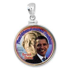 First Black President of the United States, Barack Obama Sterling Silver Pendant. $40.