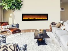 "The Sideline 80015 72"" Recessed Electric Fireplace fits flush in the wall for a clean, contemporary look. Realistic flames with five settings add ambiance to any room. Touchstone Sideline 72"" Electric"