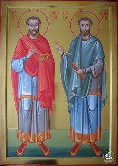 Saints Cosma and Damian Byzantine Icons, Byzantine Art, Religious Icons, Religious Art, St Constantine, Christian Mysticism, Church Icon, Best Icons, Orthodox Icons