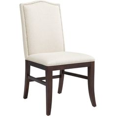 Sunpan '5West' Maison Linen Fabric Upholstered Dining Chair (890 CAD) ❤ liked on Polyvore featuring home, furniture, chairs, dining chairs, white, linen upholstered dining chairs, linen nailhead dining chairs, upholstered side chair, upholstered chair and white kitchen chairs