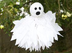 Tissue pom-pom ghosts