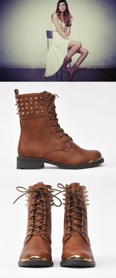 cognac brown studded boots for Fall!