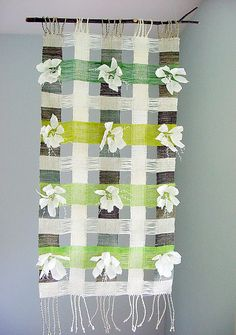 Dogwood / Green 2 | linen loops, thread on a black birch twi… | Avalanche Looms | Flickr